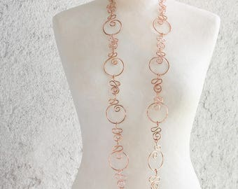 A maxi copper wire necklace with circles and spirals totally handmade, a very important unique and elegant jewel, a perfect gift for her