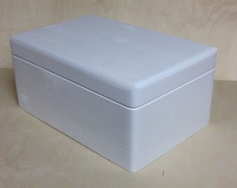 White Painted Wooden Chest with Lid - Storage Chest Toy Box  DIY Box Wooden Crate Case Nursery Decoration  30cm(L)x 20cm (W)x 14cm (H)