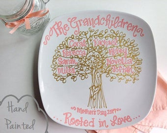 Hand Painted - Mother's Day - Grandmother Mom Personalized Family Tree Plate - Coral and Gold Grandchildren, Grandma, Nana