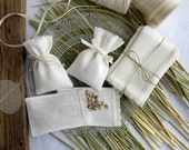 10 pcs Small linen bags - sachets -  fabric gift bags - Candy bags - Bridal-Showers-favors, Ivory