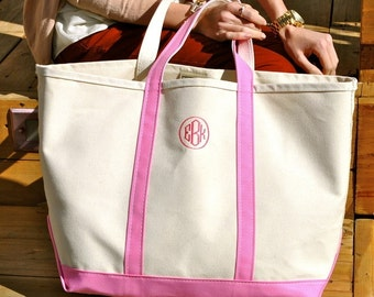 Monogrammed Canvas Boat Tote Bag
