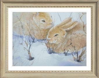 Snow bunnies PDF cross stitch