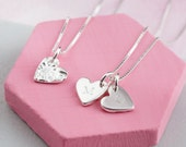 Personalised heart necklace  engraved heart necklace  small heart pendant  silver heart necklace with initials  patterned heart pendant