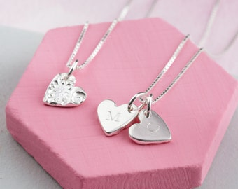 Personalised heart necklace - engraved heart necklace - small heart pendant - silver heart necklace with initials - patterned heart pendant
