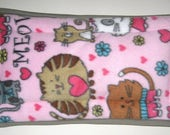 Fleece Pet Carrier Crate Mat Pad Pink and Gray with Brown, White and Gray Cats - Size Small