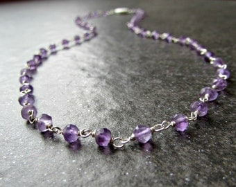 Long Amethyst Necklace with Sterling Silver Rosary Chain- Wire Wrapped Jewelry - February Birthstone Jewelry - Valentines Day Gift for Her