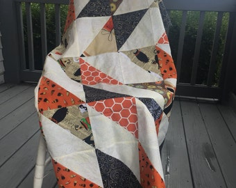 """Finished Quilt Top Ready to Quilt it Your Way! Top measures approximately 56"""" square in Halloween fabrics"""