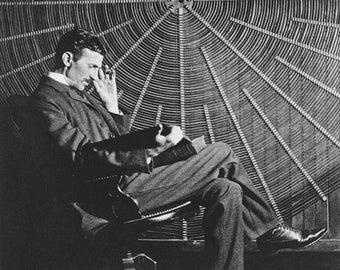 "Nikola Tesla, with Rudjer Boscovich's book ""Theoria Philosophiae Naturalis"""