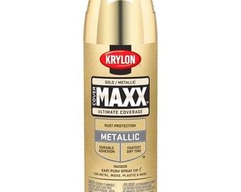 GOLD Metallic golden Finish spraY PAINT indoor & outdoor 12 oz Aerosol Can Krylon Cover Maxx 9194