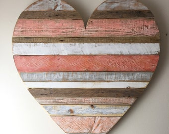 Rustic reclaimed Large Coral heart, heart, vintage look, pallet, barn style, beach cottage decor, Valentine's