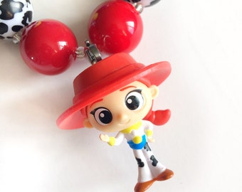 Chunky bead necklace with Toy Story pendant - Jessie 20mm beads