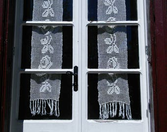 Pair Lace Crochet Curtains French Vintage Handmade Flower Pattern