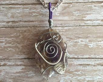 Ametrine Statement Wire Wrapped Boho Crystal Necklace