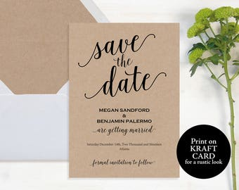 Save the Date Template, Save the Date Card, Save the Date, Save the Date Printable, Rustic Save the Date, Wedding Printable, Invite, #MM01-2