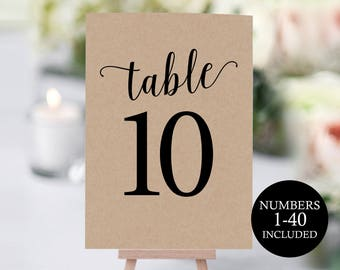 Table Number Template, Table Numbers, Printable Table Numbers, Table Numbers Wedding, Calligraphy, 4x6, 5x7, PDF Instant Download, MM01-2