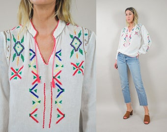 70's Embroidered Gauze Blouse