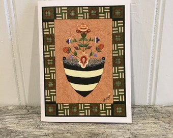 Folk art flowes in a wall pocket Blank on the inside. Greeting card, note card. Bumblebee wall pocket. My original design