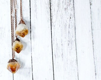 Raw citrine necklace | Citrine necklace | Crystal pendant on copper chain | Rough citrine crystal