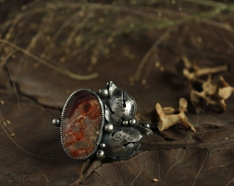 Autumn - offset red crazy lace agate statement ring with leaves detail and cutout ring size 7 sterling silver oxidized Nearly Lost Jewelry