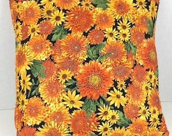 Orange and Yellow Mum Pillow Cover