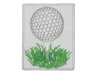 Golf ball on a tee Iron On golf Patch Logo Embroidered Emblem