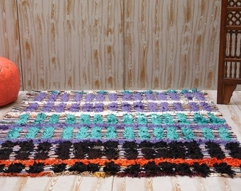 SQUARE RUG 5x5 Colorful Authentic Moroccan BOUCHEROUITE Rug Handmade Rug  Kilim Teppich Tapis Boucherouite Rug Cultural