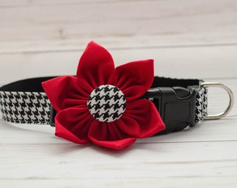 Dog Flower Collar in Houndstooth print with Rich Red Flower