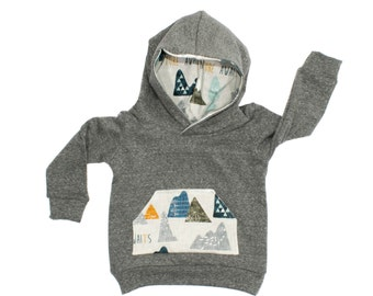 Max Mountains Hoodie, Gray French Terry Hoodie, Baby Gray Hoodie, Mountain Sweatshirt, French Terry Gray Sweatshirt, Toddler Hoodie