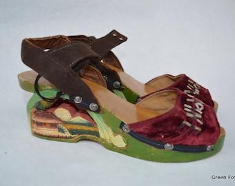 Philippines Vintage Souvenir Wood Carved Shoes