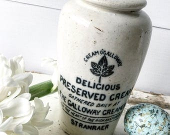 A lovely Galloway Creamery antique Advertising stoneware croc jar