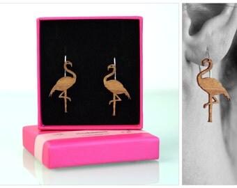 Flamingo earrings, flamingo,  flamingo jewelry, wooden bird earrings, laser cut jewelry, flamingos, ear hooks silver, jewelry laser cut