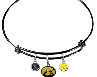 Iowa Hawkeyes COLOR EDITION Wire Charm Expandable Bangle Bracelet w/ Black & Gold Crystal Rhinestone Charms - Pick Your Color