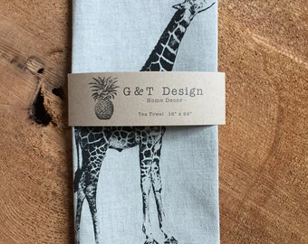 Screen Printed Black Giraffe onto 100% Natural Linen Tea Towel, Kitchen Towel