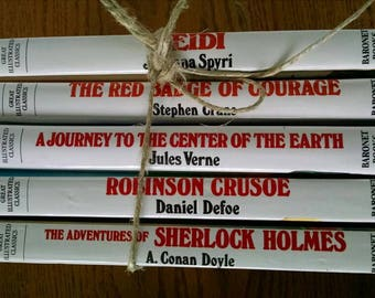 Illustrated Classics vintage for children and teens 5 bookstack Heidi Sherlock Holmes Red Badge of Courage Robinson Caruso