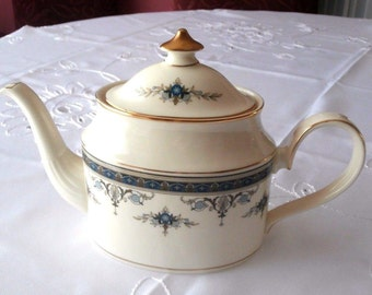 Minton Grasmere Blue Large  Tea Pot Bone China Made in England