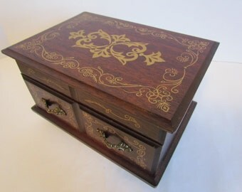 Vintage Ornate Wooden Musical Jewelry Box  Love Theme From The Godfather Jewelry Storage Box Organizer Storage Solutions