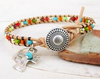 Seed Bead Bracelet ~ Southwestern Boho Single Leather Wrap Bracelet with Cross ~ Christian Jewelry ~ Gift for Her Under 20