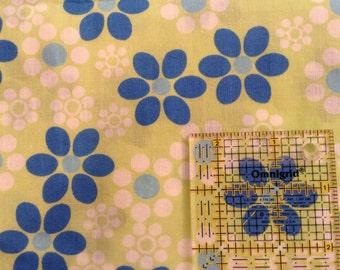 "Blue flowers, green background, white flowers, cotton, 44"" x 68"" piece"