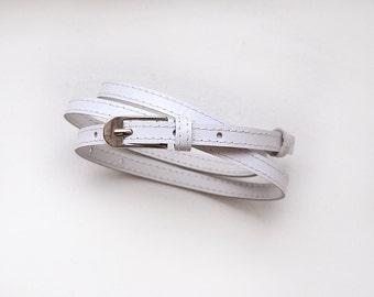White leather belt, Super skinny belt, Narrow belt, ALL SIZES