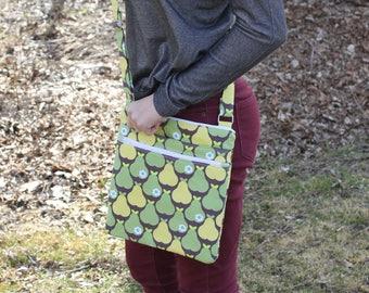 Pear print large crossbody bag, big crossbody purse, messenger bag, crossbody purse, crossbody bag, shoulder bag, large fabric purse