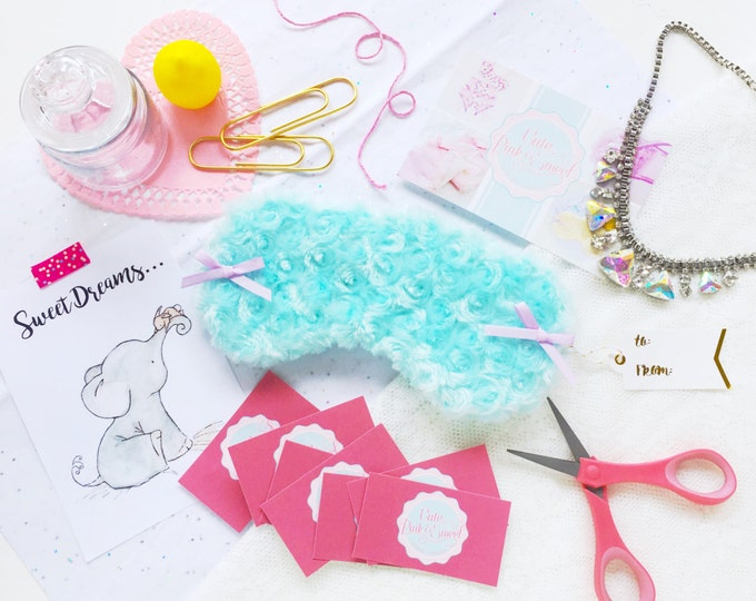 Featured listing image: Aqua and lavender bow minky eyemask spamask