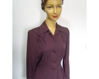 40s style rayon gabardine bow detail jacket S