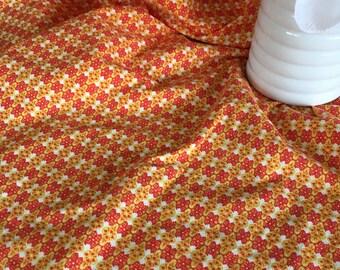 Vintage Retro Orange and Gold Printed Muslin Fabric Yardage