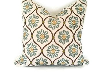 Embroidered Teal on Cream Linen Floral Pillow Cover