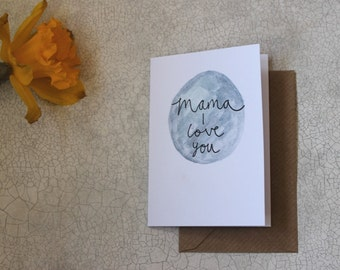 Mini Greetings Card-'Mama I Love You' Blank Inside. Mothers Day. Includes Brown envelope. Flowers Card