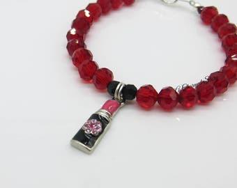 Girls Lipstick Charm Bracelet