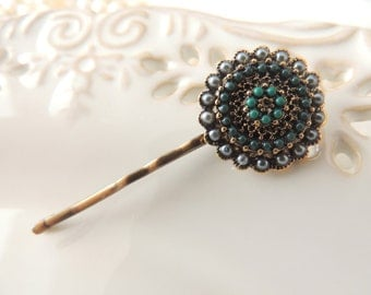 Green Grey Vintage Antique Style hair pin,bridal hairpin, jewelry, Bronze Hair Clip, Hair pin,Amazing clips broch, Bobby Pins