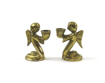 Vintage 1970s Brass Angel Candle Holders Birthday Candle Holders
