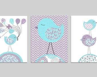 Aqua and Purple Nursery, Set of Three Prints, Bird Nursery Art, Bird on Chevron, Girl's Room Decor, Children, Playroom, Bird Canvas Art