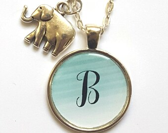 Personalized Initial Elephant Necklace Elephant Jewelry